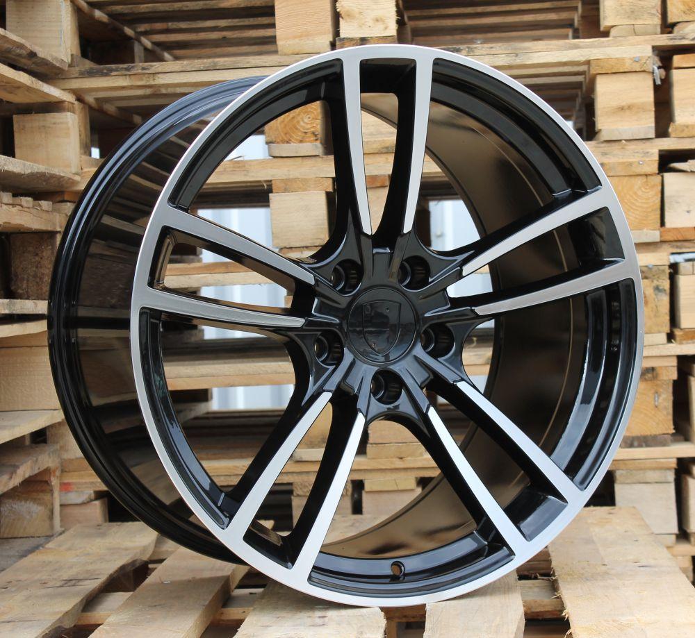 P21X9.5 5x130 ET55 71.6 BY1378 Polished Black (Rear+Front) POR (K3)## 9.5x21 ET55 5x130