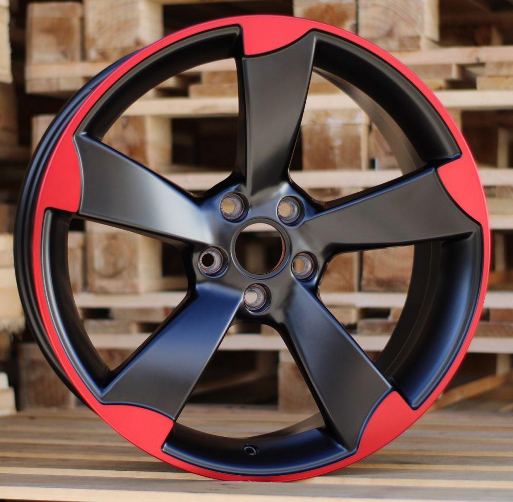 A19X8.5 5x112 ET33 66.45 BK217 (XF558) Black half matt+ Red polish RWR AUD (P1)## 8.5x19 ET33 5x112